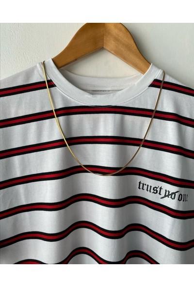 Marrakech Erkek Beyaz Oversize Baskılı Likralı Yazlık Kısa Kollu T-Shirt