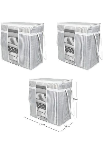 Vıpgross 3'lü Çizgili Pencereli Saklama Çantası Seti