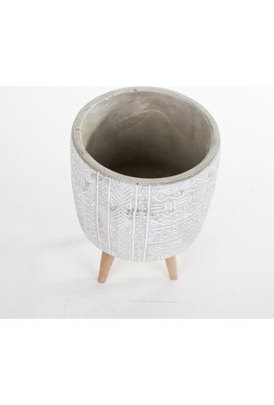 Veramaya Ayaklı Etnik Desenli Beyaz Beton Saksı 14X19 cm