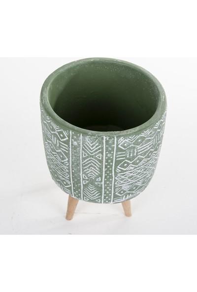 Veramaya Ayaklı Etnik Desenli Yeşil Beton Saksı 14X19 cm