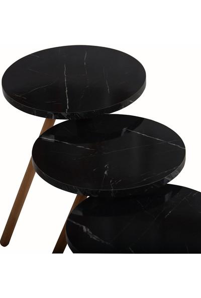 İntergo Üçlü Zigon Sehpa Ahşap Ayaklı Yuvarlak Siyah Mermer Desenli Tasarım Bendir
