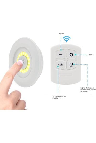 Kepez Uzaktan Kumandalı Pilli 3lü Spot LED Lamba Güçlü Beyaz Işık