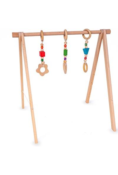 Ingodi Ahşap Bebek Oyun Halısı Oyuncağı Diş Kaşıyıcı Oyuncaklı