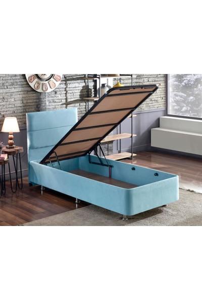 Niron Yatak Niron Cozy 120X200 Tek Kişilik Yatak Seti - Mavi Kumaş Baza, Başlık ve Yatak Takımı