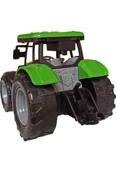 Meva Traktör Işıklı Sesli Sürtmeli Oyuncak Sevimli Yeşil Traktör 20CM.
