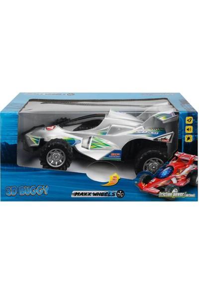 Maxx Wheels Sesli ve Işıklı 3D Buggy Sürtmeli Araba - Gri