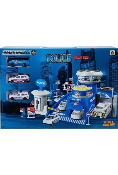 Maxx Wheels 3 Araçlı Garaj Seti - Polis Oyun Seti
