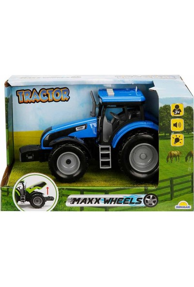 Maxx Wheels Sesli ve Işıklı Traktör 18 cm - Mavi