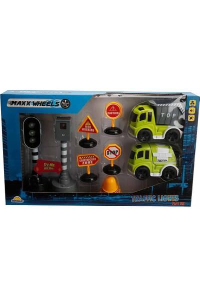 Maxx Wheels Sesli ve Işıklı Arabalı Trafik Işık Seti - Geri Dönüşüm Araçları