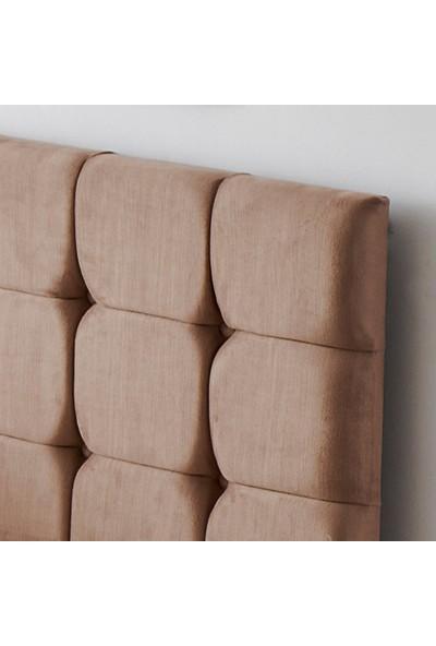 Niron Yatak Rama Çift Kişilik Yatak Başlığı - 200 cm Sütlü Kahve Kumaş Başlık