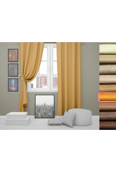 Perle Home Elegance Series Koyu Sarı Fon Perde 150X260 Ekstrafor Büzgülü