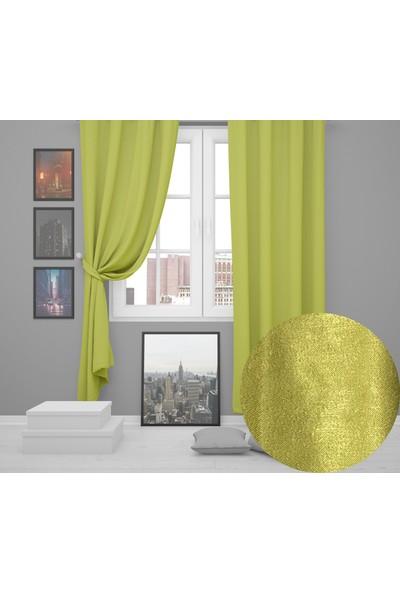 Perle Home Elegance Series Açık Yeşil Fon Perde 150X260 Ekstrafor Büzgülü