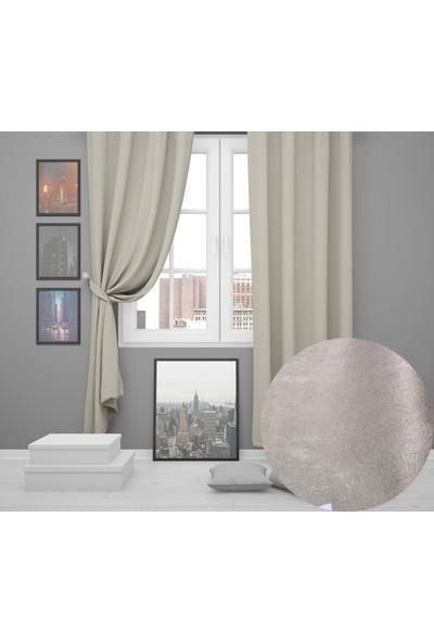 Perle Home Elegance Series Toprak Rengi Fon Perde 150X260 Ekstrafor Büzgülü