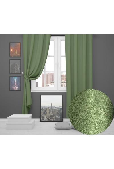 Perle Home Elegance Series Çimen Yeşili Fon Perde 150X260 Ekstrafor Büzgülü
