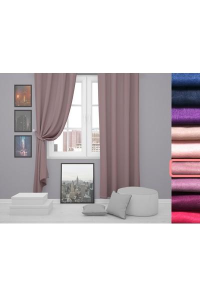 Perle Home Elegance Series Gül Kurusu Rengi Fon Perde 150X260 Ekstrafor Büzgülü