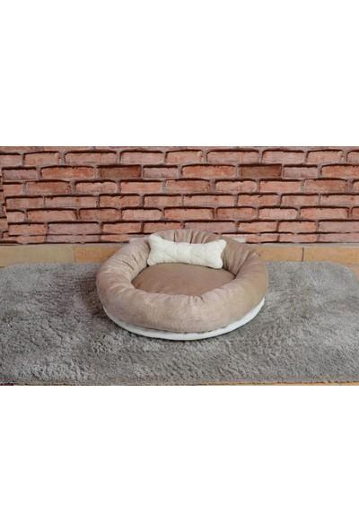 Cookie Pet Yıkanabilir Yuvarlak Köpek Kedi Yatağı 60 cm Bej