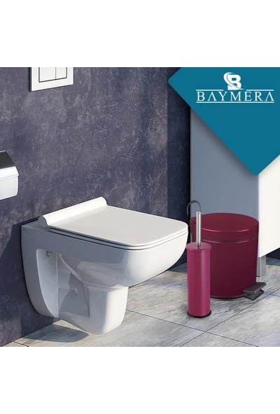 Baymera 5 Litre Çöp Kovası + Wc Fırçası Banyo Seti - Mor
