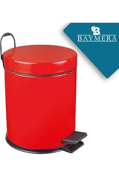 Baymera 5 Litre Çöp Kovası + Wc Fırçası Banyo Seti - Kırmızı