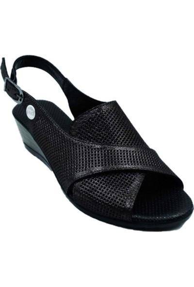 Mammamia D21YS-1060 Kadın Deri Sandalet - Siyah - 36