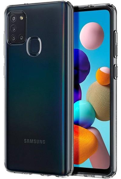 Vinn Mood Samsung Galaxy A21S Kılıf Antishock Silikon Köşeli Şeffaf Airbag Arka Kapak