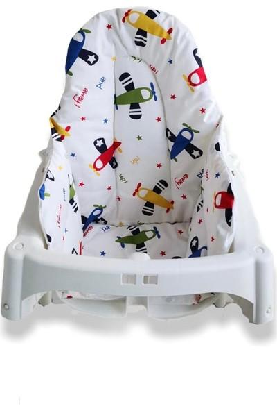 Bebek Özel Bebek Uçak Desenli Mama Sandalyesi Minderi