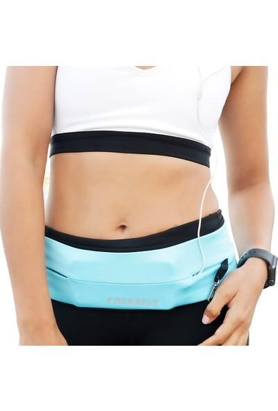 Freebelt Mavi Yeni Nesil Spor Bel Çantası Koşu ve Fitness Kemeri