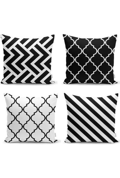 Hayalim House 4'lü Zigzag Desenli Siyah & Beyaz Yastık Kırlent Kılıf Seti