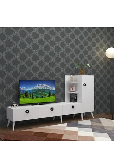 Rosette Pera Modern Beyaz Plazma Tv Ünitesi