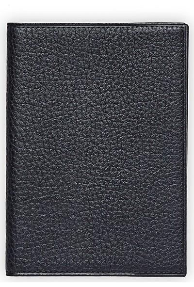 Emnana Naturel Deri Pasaport Cüzdanı - Siyah