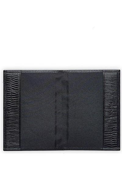 Emnana Siyah Krokodil Baskılı Deri Pasaport Cüzdanı