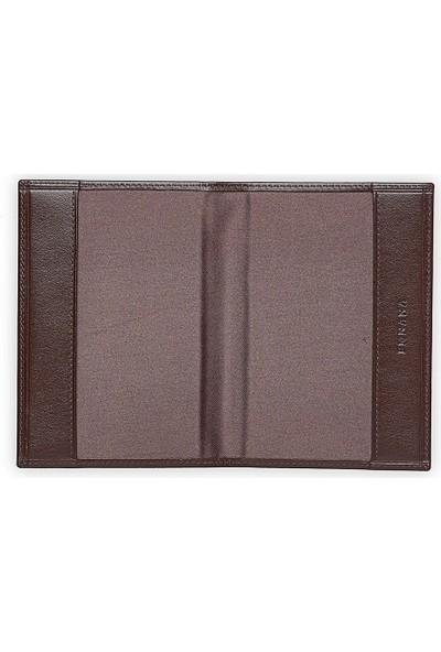 Emnana Deri Pasaport Cüzdanı - Kahverengi