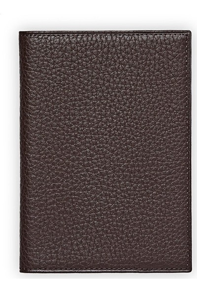 Emnana Naturel Deri Pasaport Cüzdanı - Kahverengi