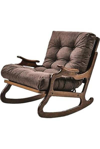 Mobezzo Kahverengi Renk Kumaş Minderli Sallanan Dinlenme Koltuğu