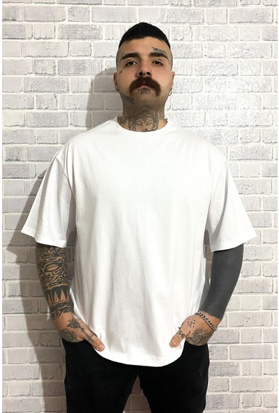 Rakasha Erkek Oversize Bisiklet Yaka Düz Beyaz T-Shirt