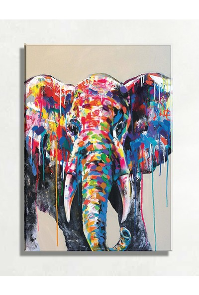 Mağazacım Fil Modern Sanat Yağlı Boya Reprodüksiyon Kanvas Tablo TBL1642 (35X50 Cm)