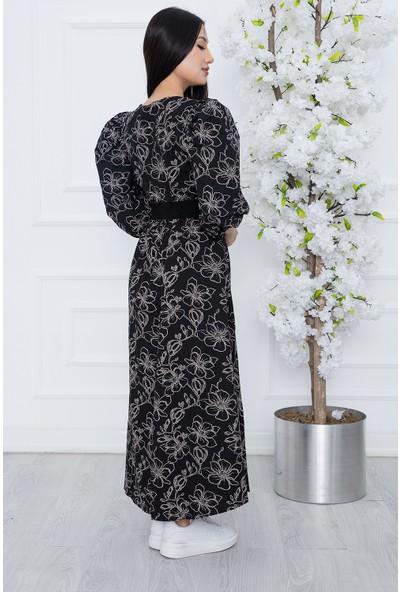 Kalopya Kadın Gül Desen Kemerli Elbise 8020