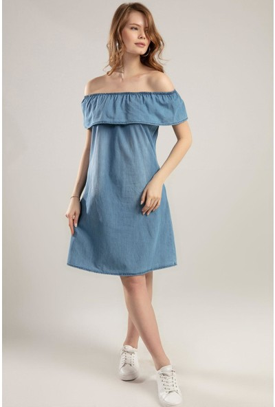 Pattaya Kadın Fırfırlı Carmen Yaka Kot Elbise Y20S110-1481