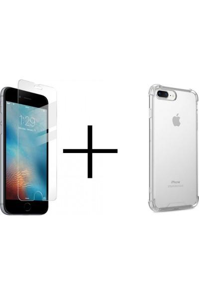Jacquelyn Apple iPhone Se 2020 Şeffaf Sert Cam ve Şeffaf Tıpalı Kılıf 2'li Set