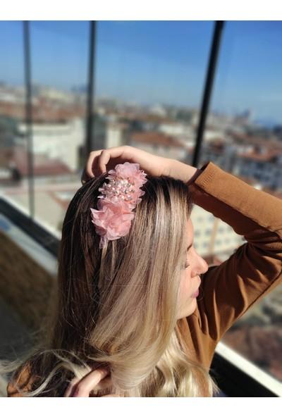 Melkady 232 - Çiçekli Şık Broşlu Taç , Lohusa Tacı