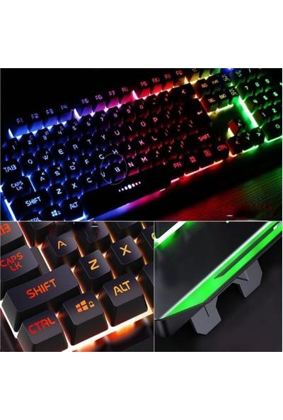 Cooltech Işıklı Oyuncu Klavye Mouse Seti Mekanik His Rgbli Siyah