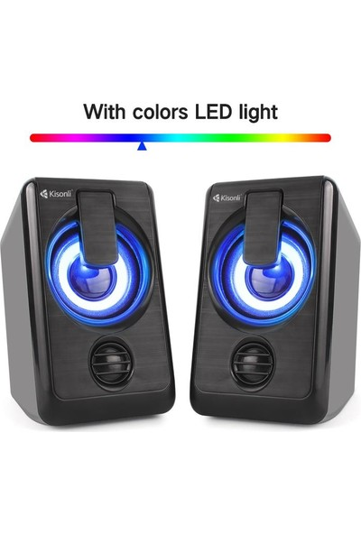 Azemax USB 2.0 Işıklı Mobil Speaker 1+1 Hoparlör 58 Desibel