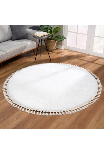 Demter Carpet Peluş Saçaklı Daire Ekru 160 x 160 cm