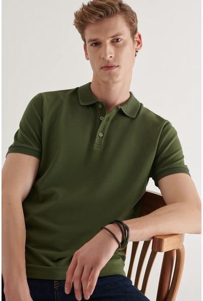 AVVA Erkek Haki Polo Yaka Düz T-Shirt A11B1146