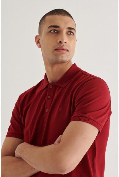 AVVA Erkek Bordo Polo Yaka Düz T-Shirt A11B1146