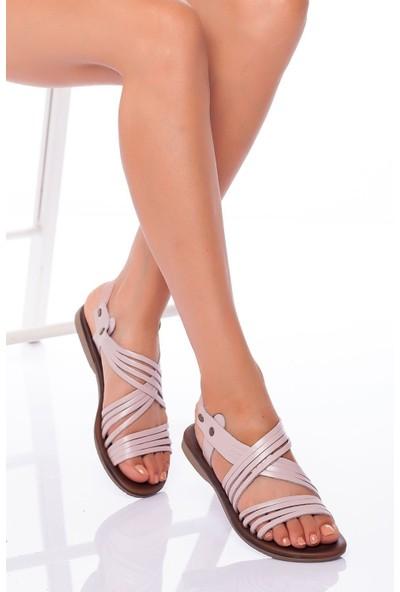 Ayakkabı Frekansı Adie Deri Sandalet Pudra
