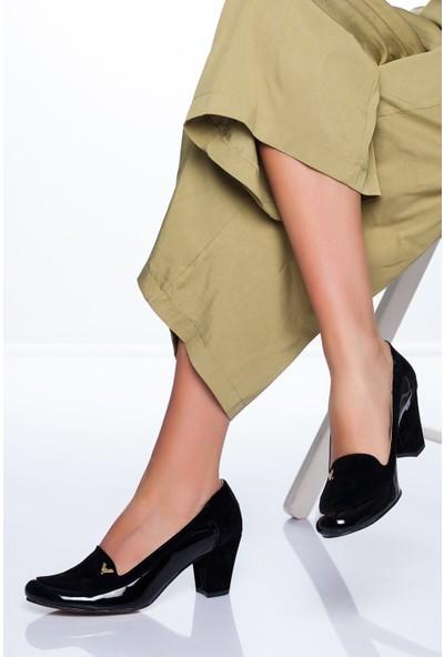 Ayakkabı Frekansı Maxx Topuklu Ayakkabı Siyah Rugan