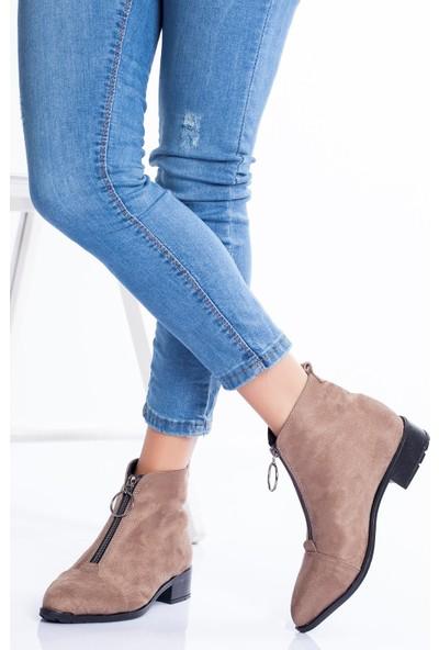 Ayakkabı Frekansı Flori Bot Vizon Süet