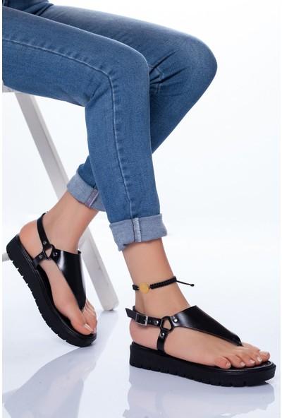 Ayakkabı Frekansı Alix Deri Sandalet Siyah