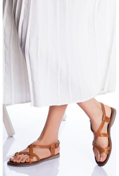 Ayakkabı Frekansı Irmine Deri Sandalet Taba