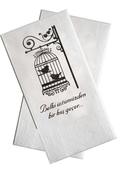 Anadolu Saray Çarşısı Konuşan Sunumluk Dekor Motto Peçete (Kuş Kafesi-Aşk) Dekoratif - 20 Adet